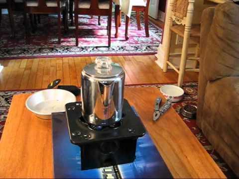 Percolator on a camp stove