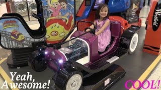 Indoor Amusement Arcade Kiddie Car Ride w/ Maya and Marxlen - Summer 2015