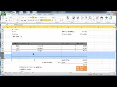 Create an Invoice in Excel 2010