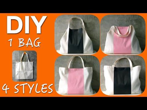 DIY Tote Bag : Flat Cloth Bag to Glam Tote Bag 4-in-1 !