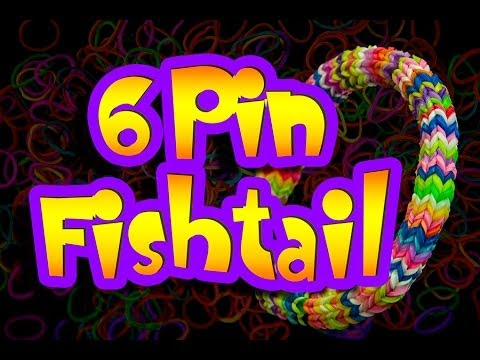 How to make a HEXAFISH 6 Pin Fishtail Rainbow Loom Bracelet HD