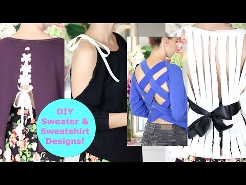 DIY Sweater Design Cutting Ideas! DIY Sweater / Sweatshirt Reconstruction