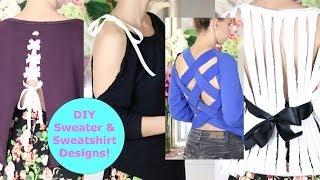 DIY Sweater Design Cutting Ideas! DIY Sweater / Sweatshirt Reconstruction