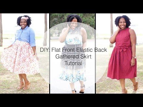 Flat Front Elastic Back Waistband -Gathered Skirt