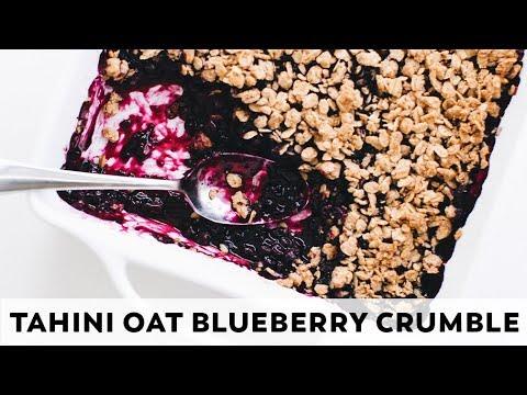 Tahini Oat Blueberry Crumble // vegan, gluten-free, oil-free