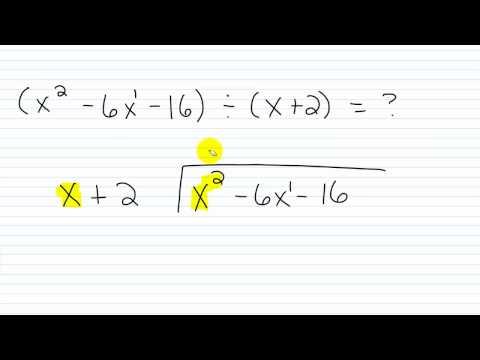 Algebra I Help Polynomial Long Division Part I