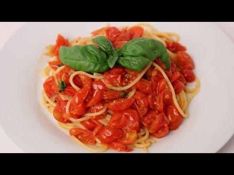 Spaghetti with Fresh Cherry Tomato Marinara Recipe - Laura Vitale - Laura in the Kitchen Episode 411