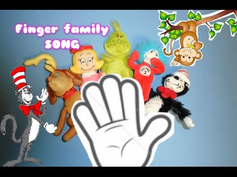 Dr Seuss FINGER FAMILY SONG with Cat in the Hat FINGER PUPPETS plus read along book