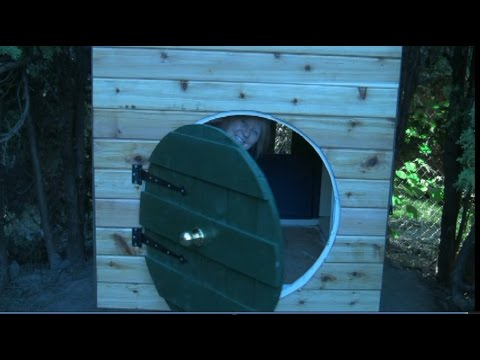 Hobbit Hole Playhouse Part 4 of 5:  Siding and the round front door