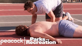 Chris Coaches Andy for the Police Academy - Parks and Recreation