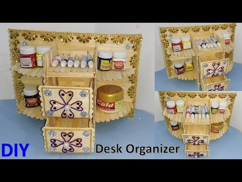 DIY Desk organizer from ice cream stick || how to make || handmade easy craft