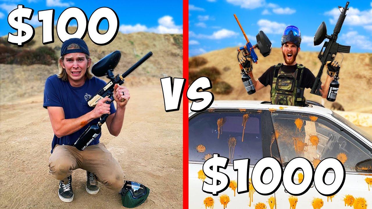 $100 vs $1000 Paintball Battle Royale! *BUDGET CHALLENGE*
