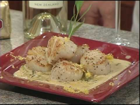 Seared Scallops and Asparagus with Creamy Herbed Butter Sauce