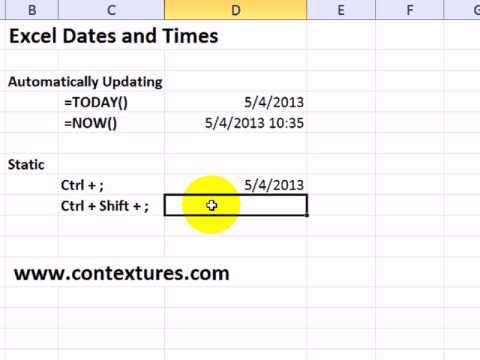 Enter Date and Time in Excel
