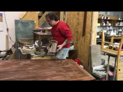 stripping a mahogany conference table