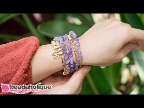 How to Make the Boho Gemstone Memory Wire Bracelet Kits by Beadaholique
