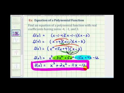 Ex 1:  Find a Degree 3 Polynomial Function Given Integer Zeros
