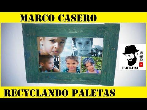 Marco casero recyclando paletas