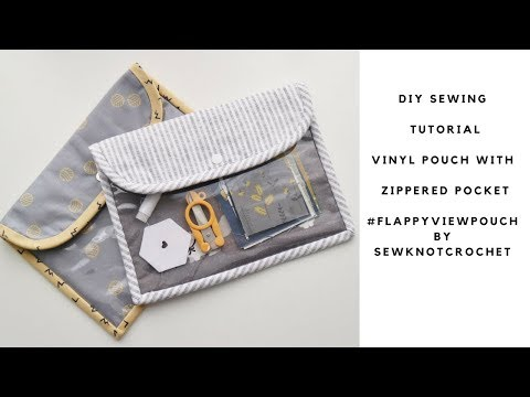 DIY Sewing Tutorial Vinyl Flap Pouch with Zipper Pocket | #flappyviewpouch by SewKnotCrochet