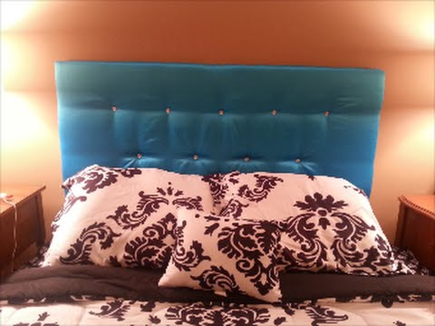 DIY: Easy Upholstered/Tufted Floating Headboard w/Crystal Buttons Bling (Cardboard) **UNDER $50!**!