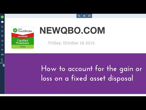 QuickBooks Online - How to account for the gain or loss on a fixed asset sale