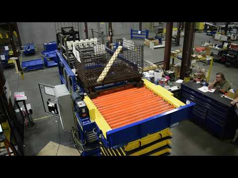 LEWCO Custom Over/Under with Powered Chain Driven Live Roller Conveyor with Lift and Rotate Table