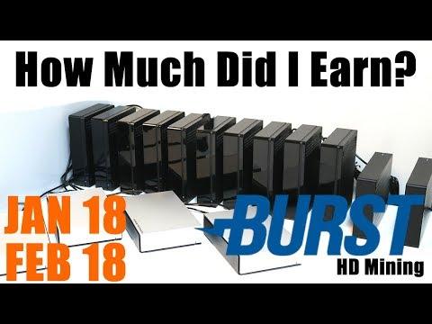 My Burstcoin Mining Earnings Update January & February 2018