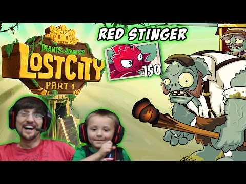 Chase & Dad play PVZ 2 Lost City World 1 2 3 & 4: Red Stinger (AWESOME NEW UPDATE)