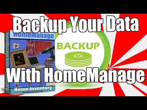 HomeManage Home Inventory Software - Backup Demonstration