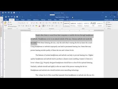 Microsoft Word 2016 - First Line Indent