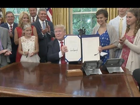 Trump Signs Child Cancer Act - Full Event And North Korea Comments