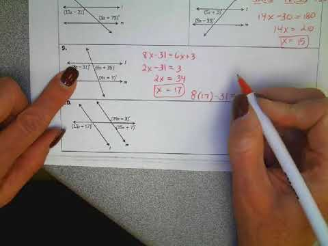 Algebra with parallel lines and transversals