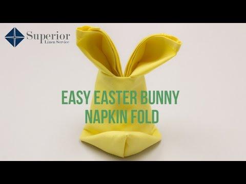 Easy Easter Bunny Napkin Fold
