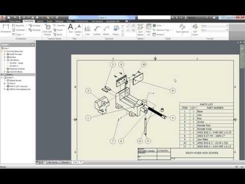 Autodesk Inventor Tutorials Vise Part 15-Drawings