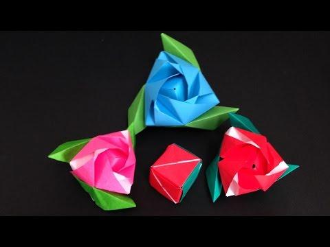 Origami Magic Rose Cube flower instructions 折り紙 マジックローズキューブ バラの花の箱 折り方