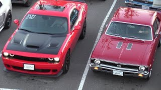 Old vs New Muscle Cars Drag Racing,Dodge Demon,Hellcat,Charger 69