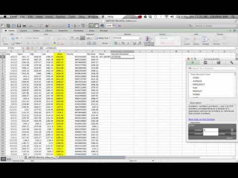 Calculating Mean Variance Skewness Kurtosis on Excel
