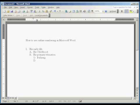Outlining in Microsoft word