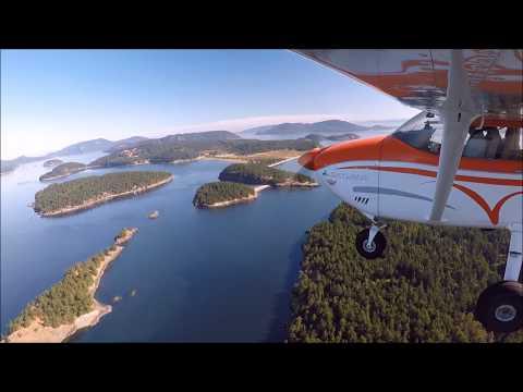 Cessna 182 landing Center island Washington.