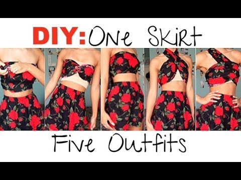 DIY| Make 1 Skirt Into 5 Outfits (No Sewing!)