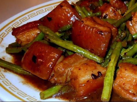 Stir Fry :Pork Belly with Long Green Beans in Garlic Black Bean Sauce