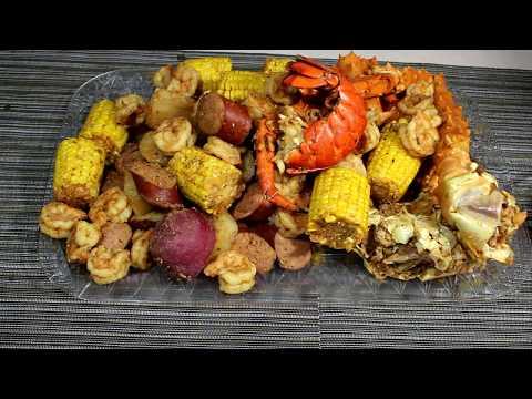 Seafood Boil Recipe, King Crab, Sausage, Shrimp, Lobster Tail, Potatoes
