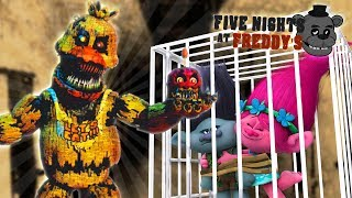Minecraft FIVE NIGHTS AT FREDDYS - CHICA HAS KIDNAPPED THE TROLLS POPPY & BRANCH IN THE FNAF HOTEL!!