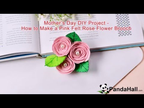 Mother's Day DIY Project   How to Make a Pink Felt Rose Flower Brooch