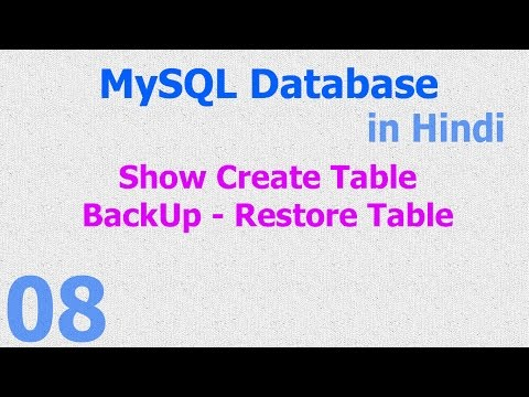 08 MySQL Database Tutorial Hindi - Show Create Table - Backup Restore