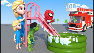 Elsa and the Toddlers PLAY on the WATER SLIDE Inflatable POOL 3D clay Animation Movie