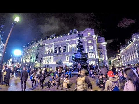 London Night Walk. Oxford Circus to Piccadilly Circus Along Regent Street
