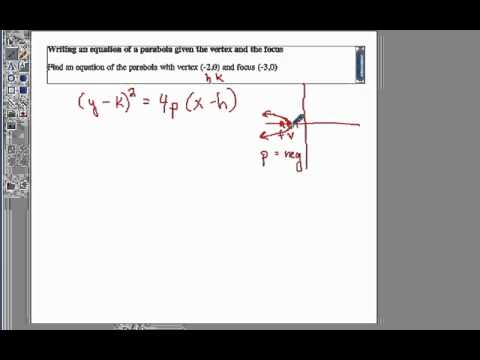 Write an equation of a parabola given the vertex and the focus
