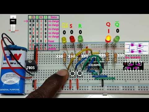 how to work clocked SR flip flop using NAND gate Tamil & English,தமிழ் எலெக்ட்ரானிக்ஸ்