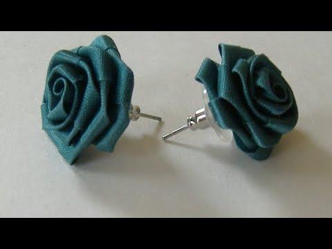 How to make ribbon rose earring.